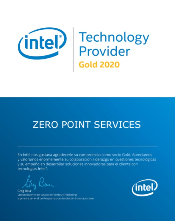 Certificado Intel Gold 2020